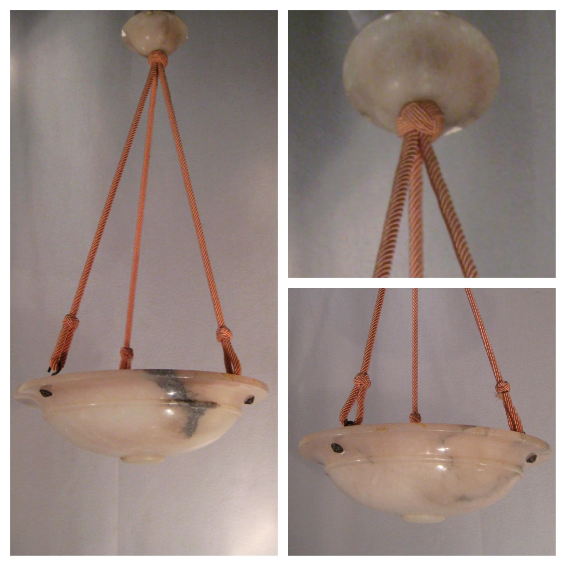 A8380 1930s Pale Pink Alabaster Bowl Light Bogart Bremmer Amp Bradley Antiques