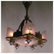 Lighting product categories bogart bremmer bradley antiques a3546 tudor style art deco chandelier aloadofball Gallery