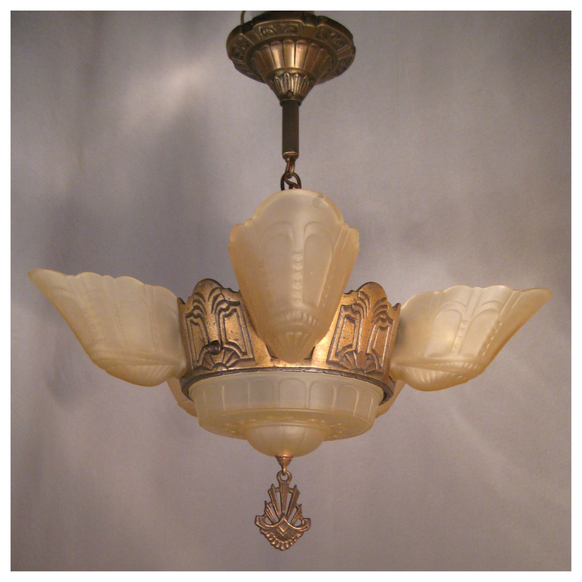 A3647 art deco bronze chandelier with shades bogart bremmer a3647 art deco bronze chandelier arubaitofo Gallery