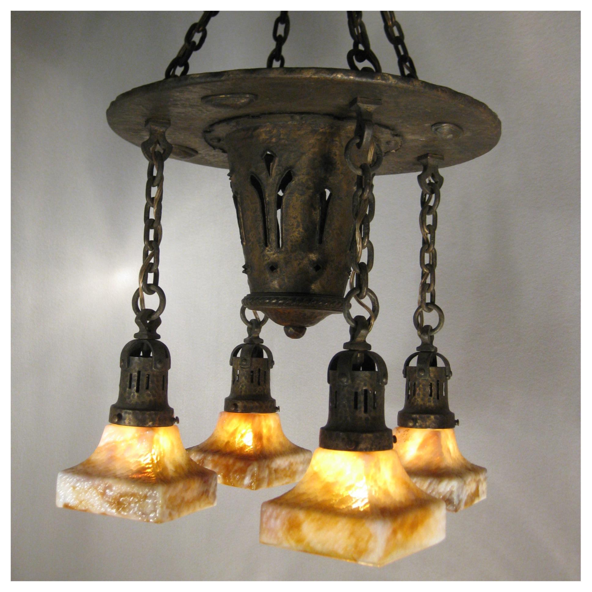 A1216 hammered brass chandelier bogart bremmer for Arts and crafts chandelier