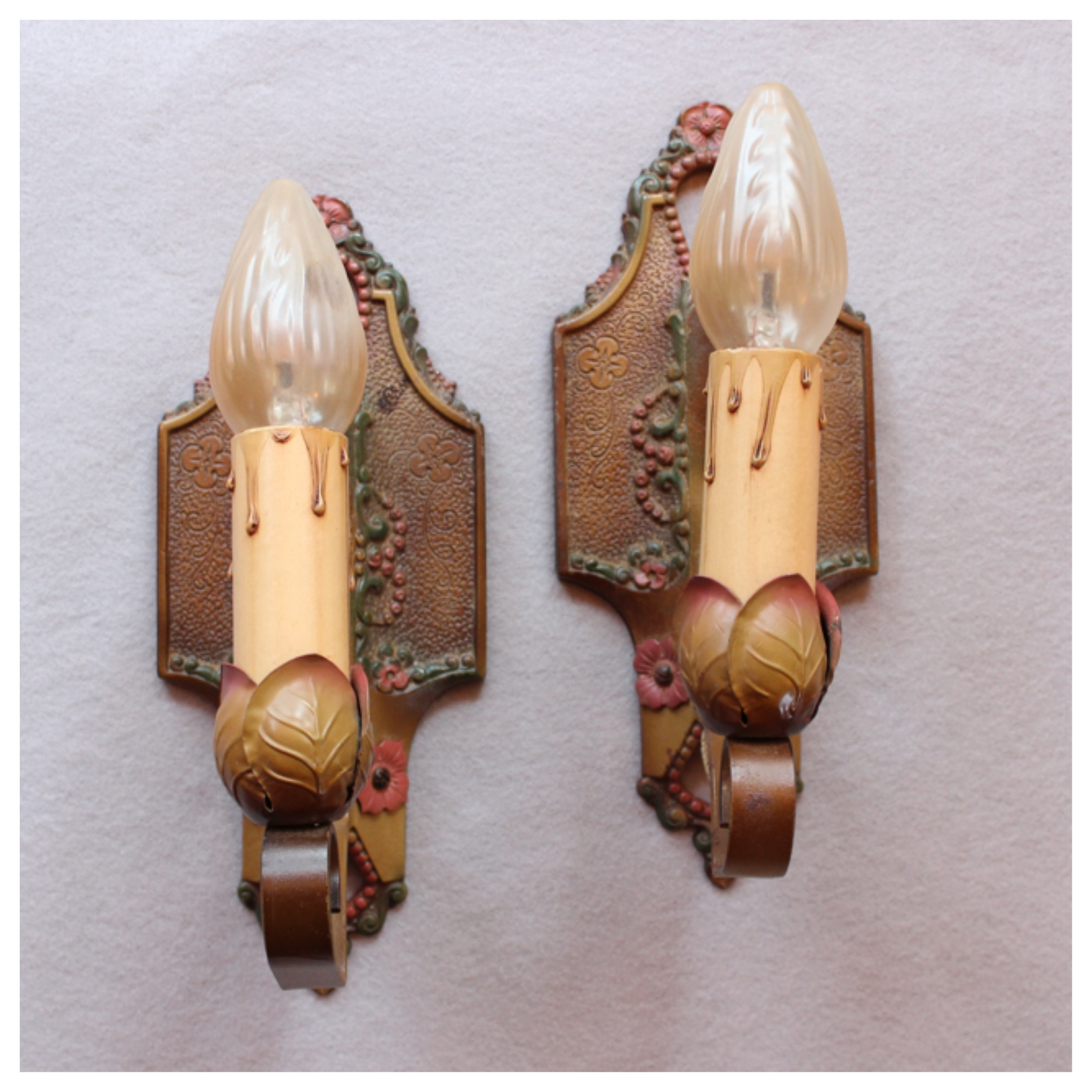 A8365 1920s candle wall sconces bogart bremmer bradley antiques a8365 1920s candle wall sconces mozeypictures Images