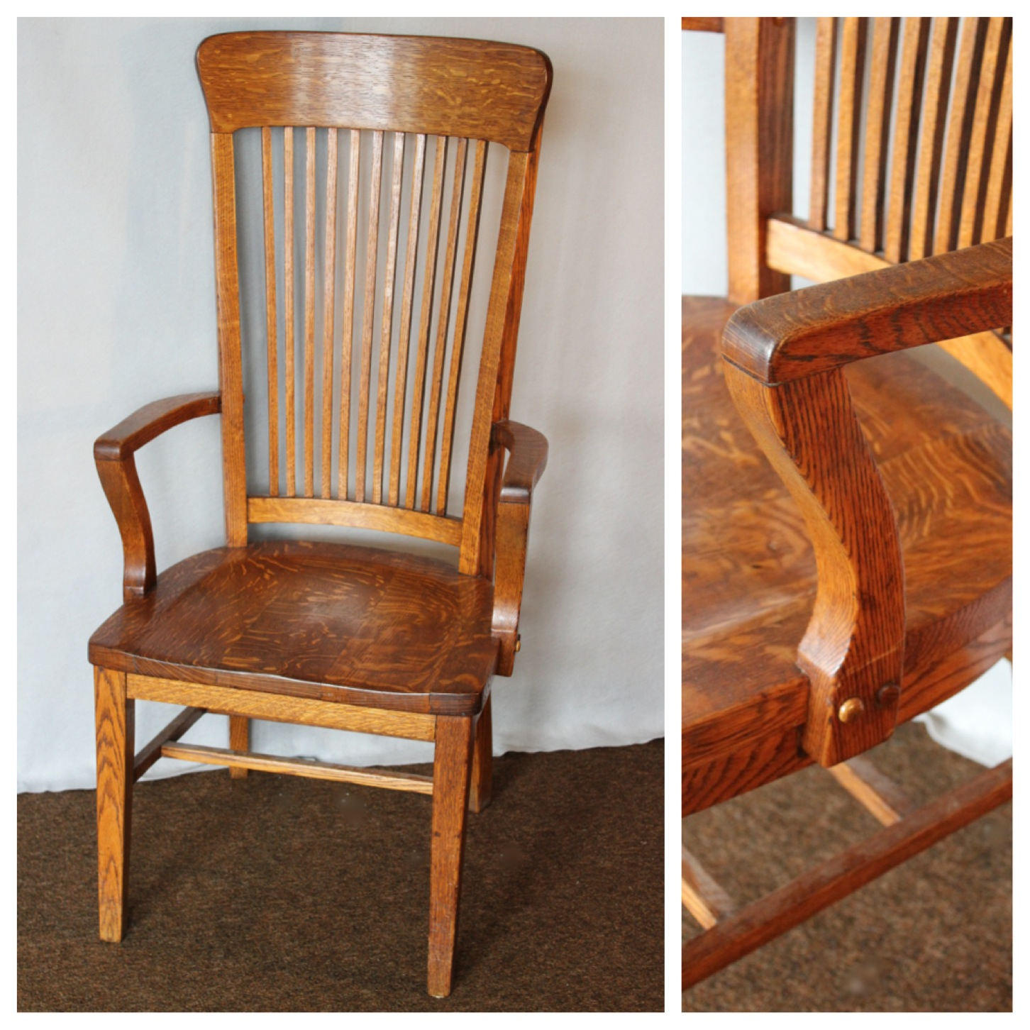Antique Oak Tall Back Office Chair