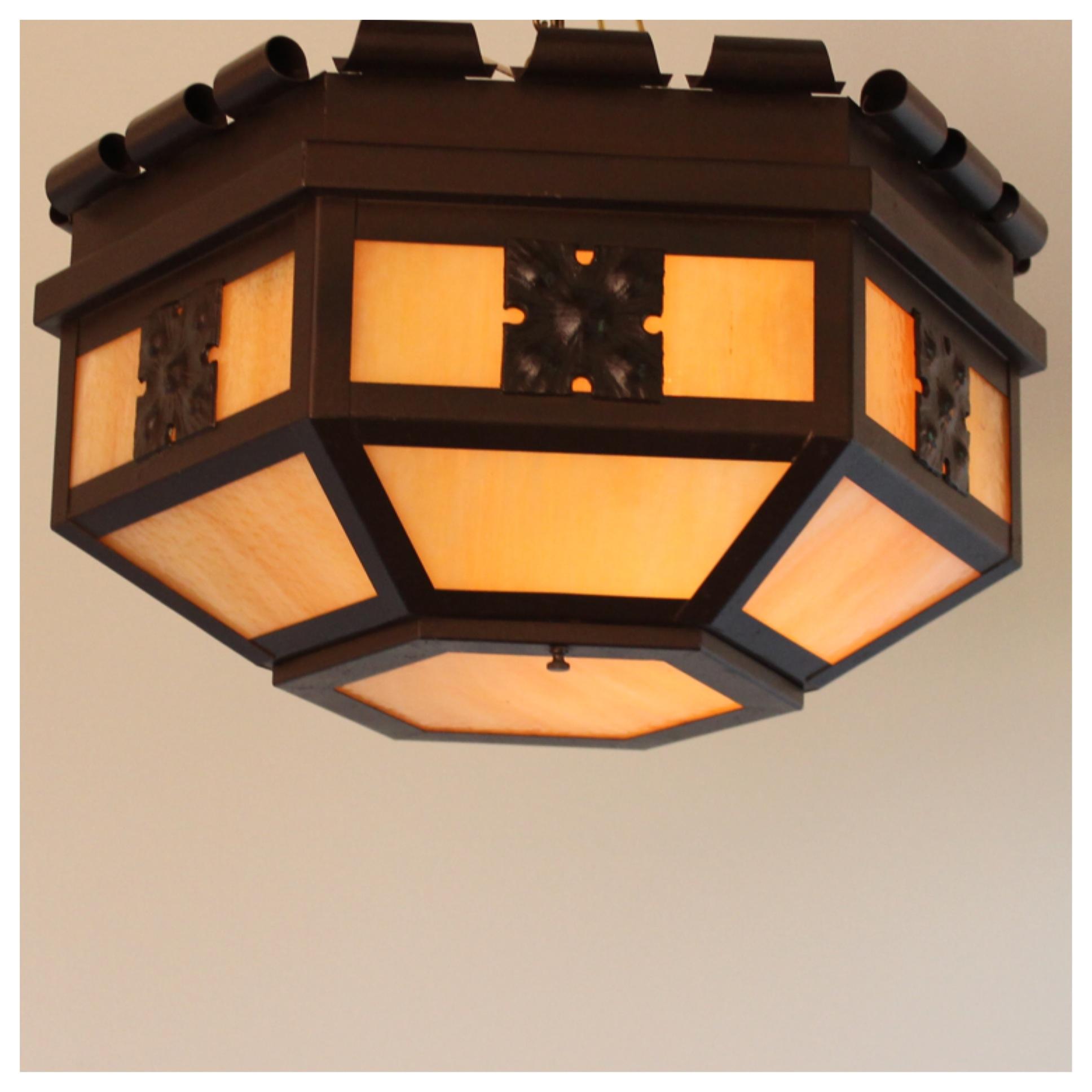 A4724 a c flush slag glass light bogart bremmer for Arts and crafts flush mount lighting
