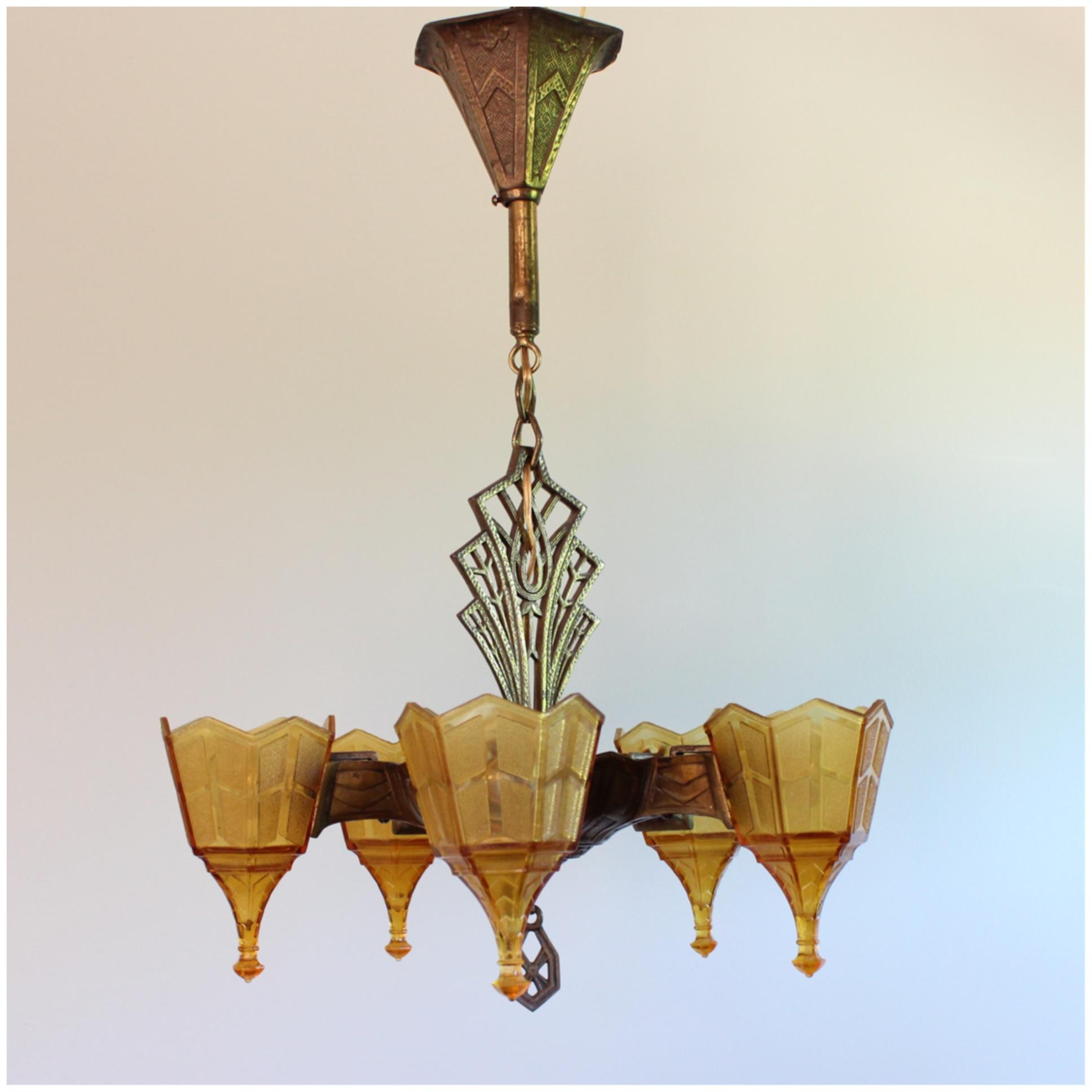 A8219 arts crafts chandelier bogart bremmer bradley antiques a8219 arts crafts chandelier aloadofball Choice Image