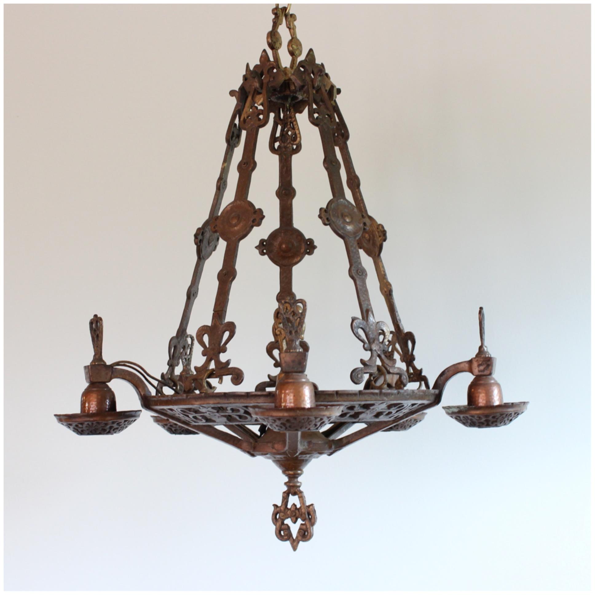 Diy104 bronze chandelier bogart bremmer bradley antiques for Arts and crafts chandelier
