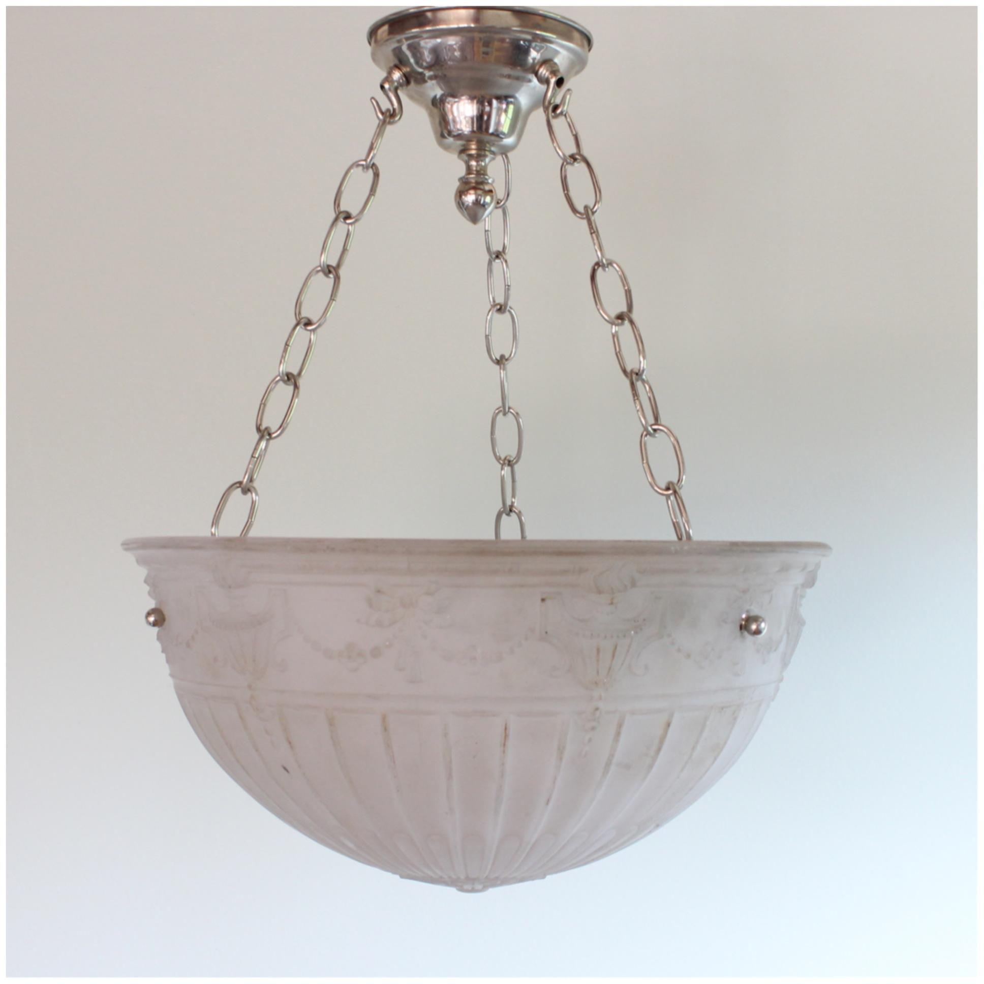 DIY123 Camphor Glass Bowl Light Bogart Bremmer Bradley Antiques