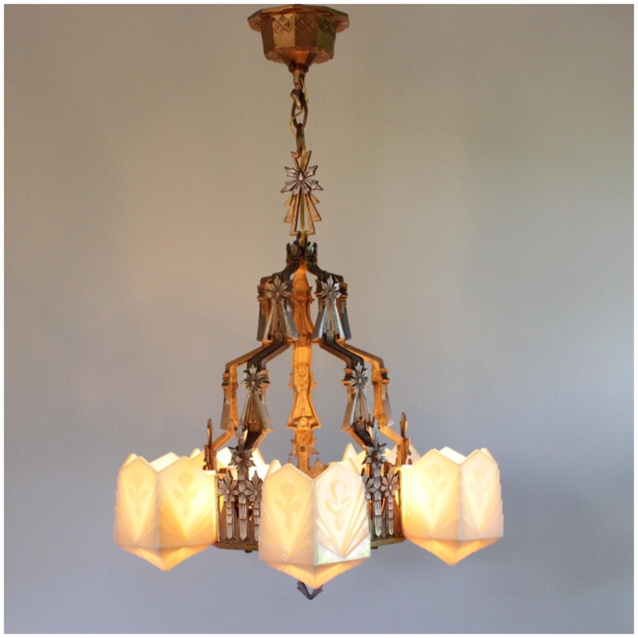 Wall Sconces Chandelier: #A8227 Art Deco Chandelier & Sconces