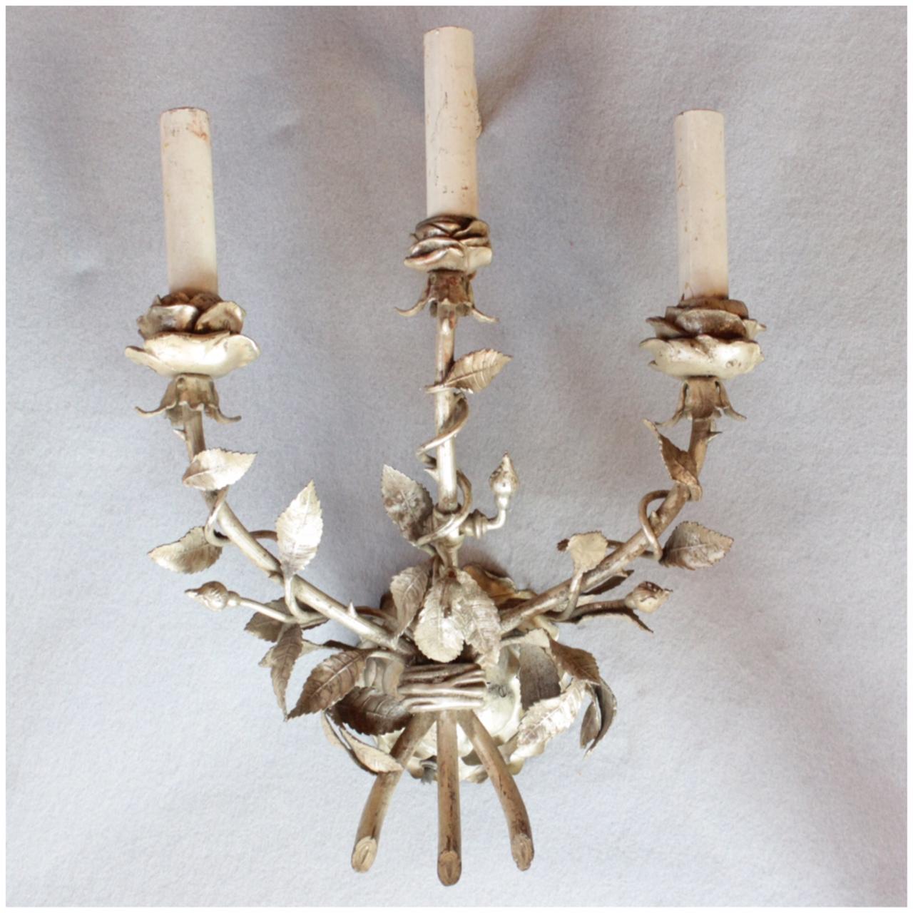 antique stores palm springs DIY125 Set of 4 Cast Rose Sconces   Bogart, Bremmer & Bradley Antiques antique stores palm springs
