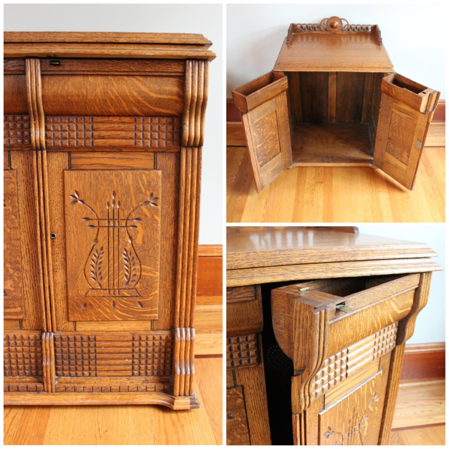 F3140 oak cabinet bogart bremmer bradley antiques for Storage eastlake
