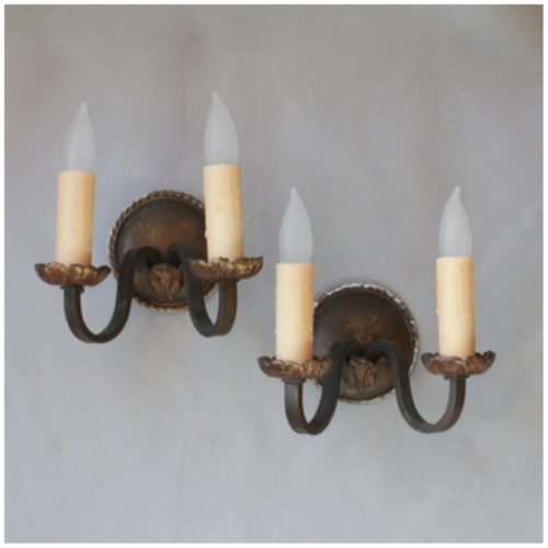 #DIY119 Pair Wall Sconces Bogart, Bremmer & Bradley Antiques