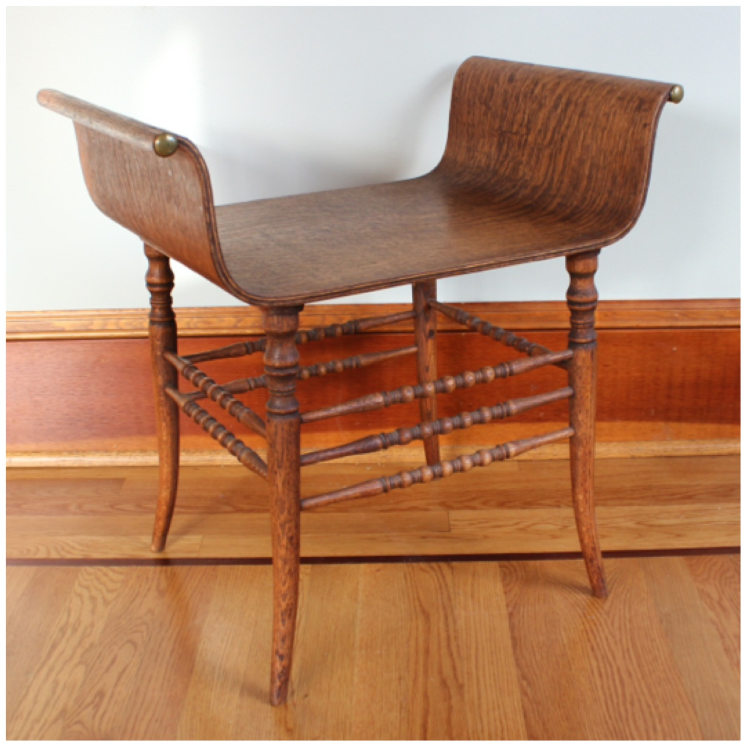 #F4475 Oak Vanity Bench - F4475 Oak Vanity Bench Bogart, Bremmer & Bradley Antiques