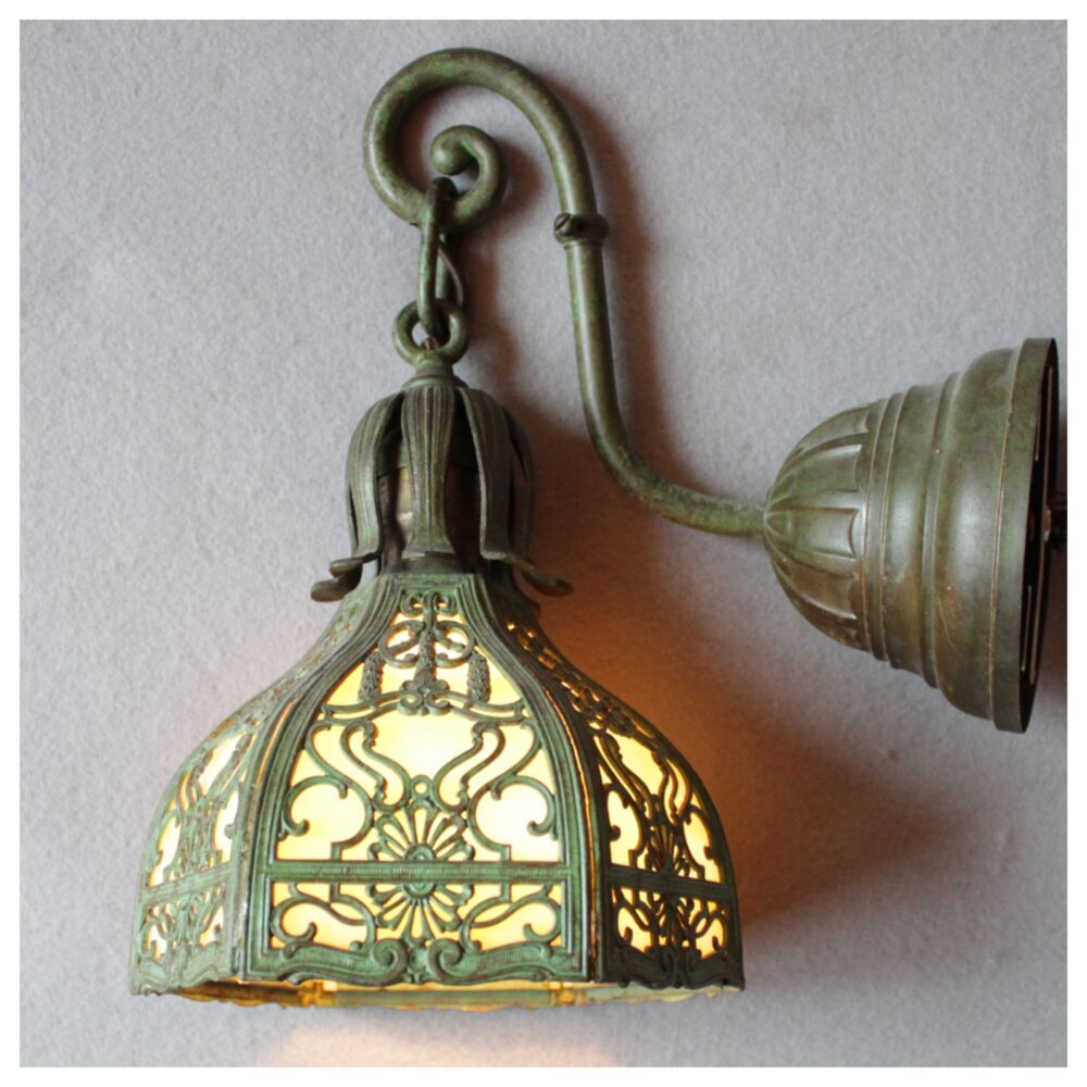#A1017 Miller Lamp Co. Slag Glass Wall Sconce