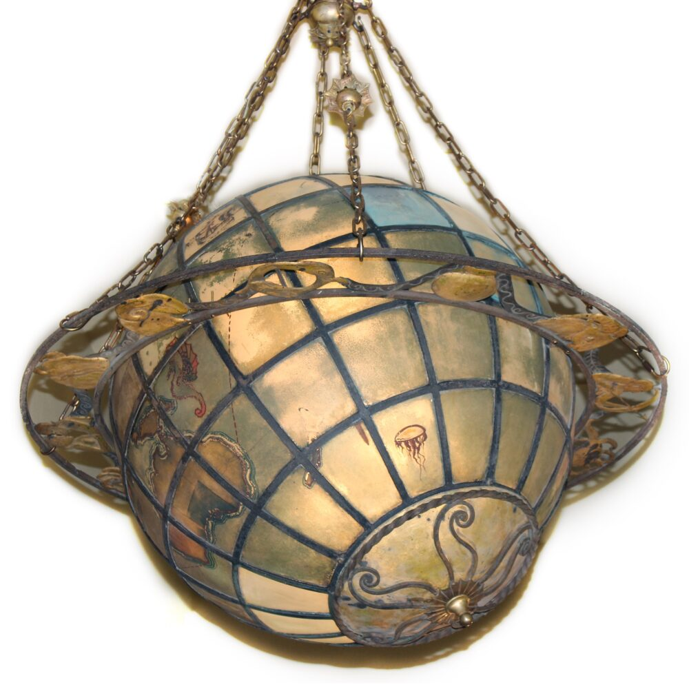 A4444 antique world globe chandelier with zodiac ring bogart a4444 antique world globe chandelier aloadofball Choice Image